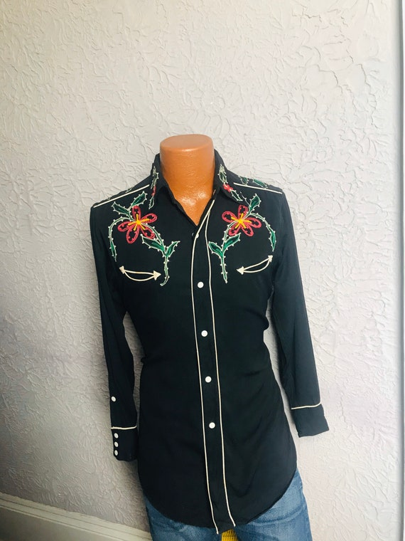 1950's Vintage Men's Rayon Embroidered Western Sh… - image 3