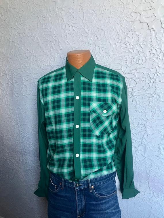 1950s Vintage Men's Rayon Gab Shirt Jac shirt NOS