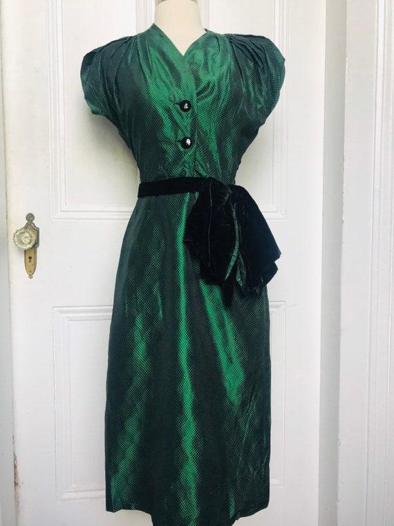30's/40's Vintage Green Black Silk Damask Dress s… - image 9