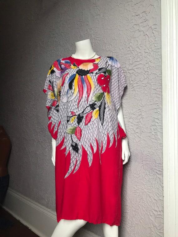 70's Vintage Bali Batik Rayon Dress Med/ large