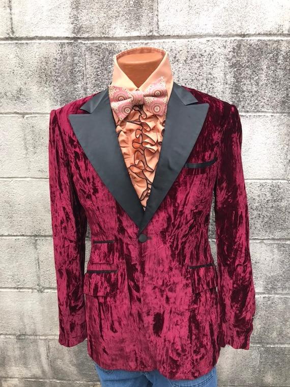 70's Vintage Men's Crushed Velvet Jacket Tux Jacke