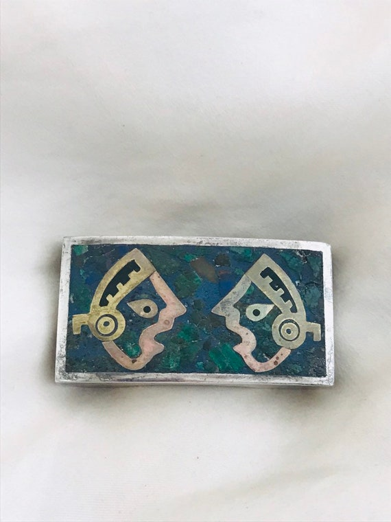50's/60's Vintage Mexican Sterling Mayan Turquoise