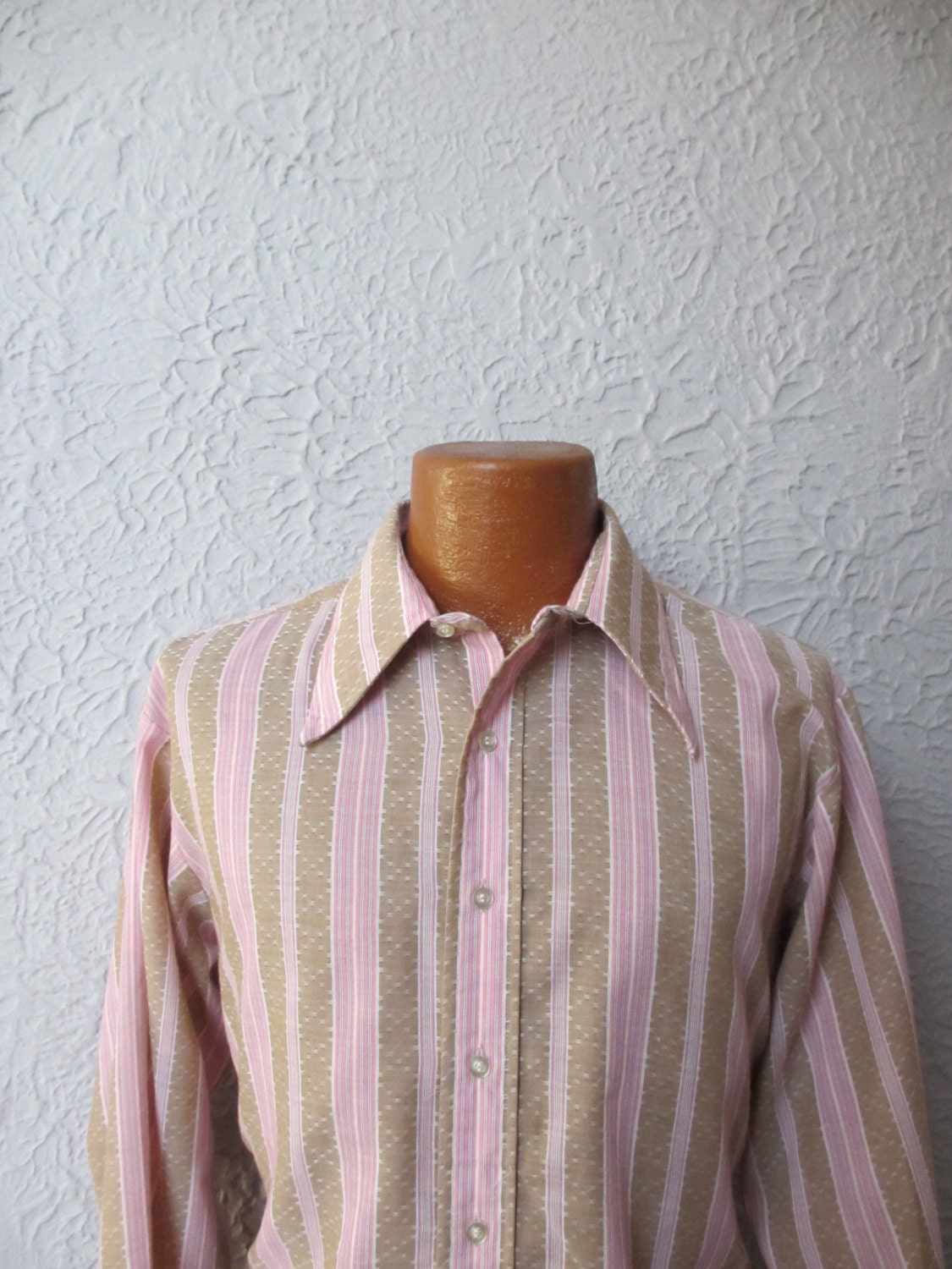 70s Vintage Mens Mod Hippie Striped Shirt Now Breed Etsy Hoc Store Batik French Cuff Zoom