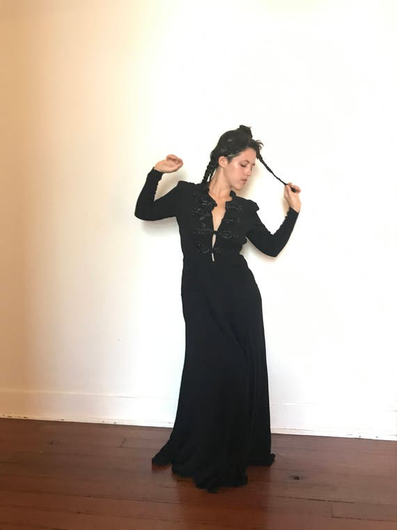 30's Vintage Black Rayon Crepe Beaded Gown Dress m