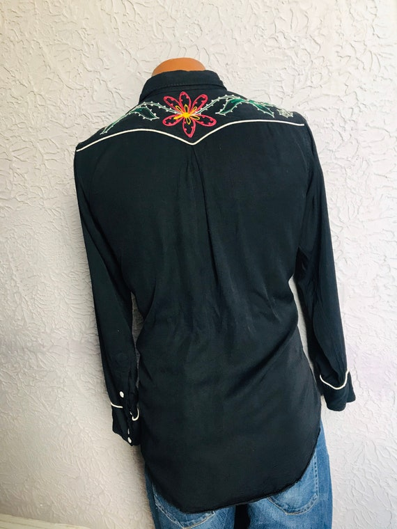 1950's Vintage Men's Rayon Embroidered Western Sh… - image 10