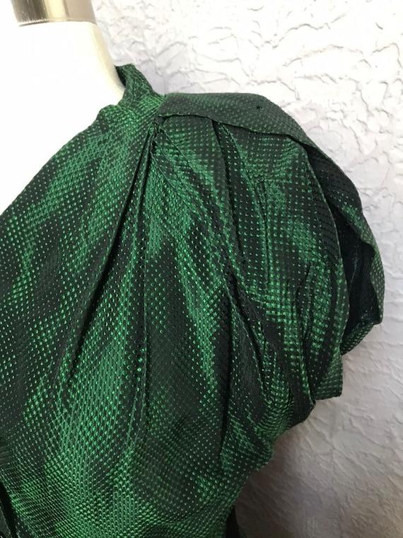 30's/40's Vintage Green Black Silk Damask Dress s… - image 8