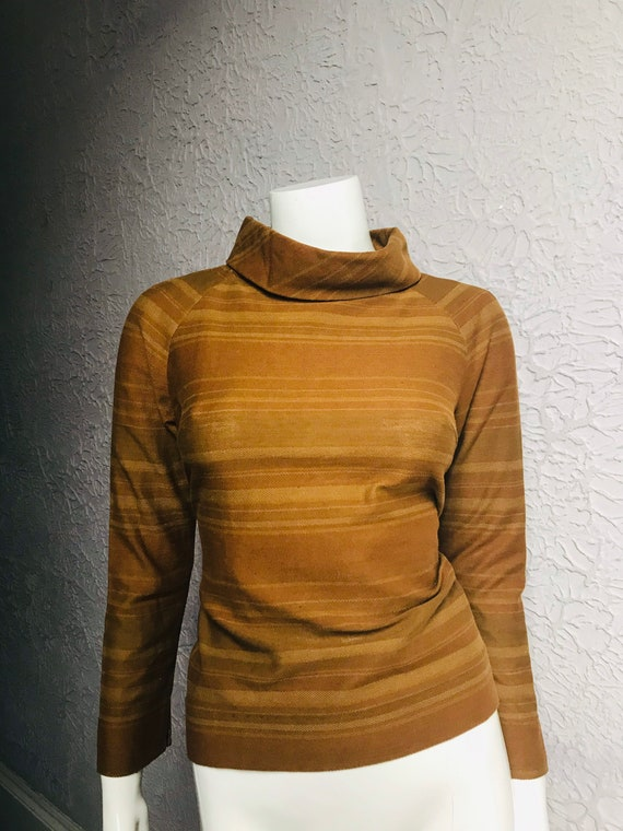 60's Vintage Mod Space Age Striped Cotton Top med… - image 1