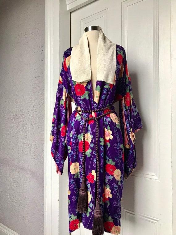 20's Vintage Floral Silk Kimono Robe W/Braided Sil