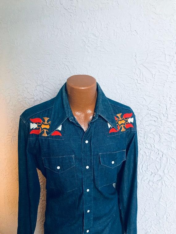 70's Vintage Men's Hand Embroidered Denim Western