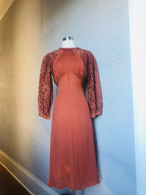 Reserved - 1930's Vintage Art Deco Rayon Crepe Lac