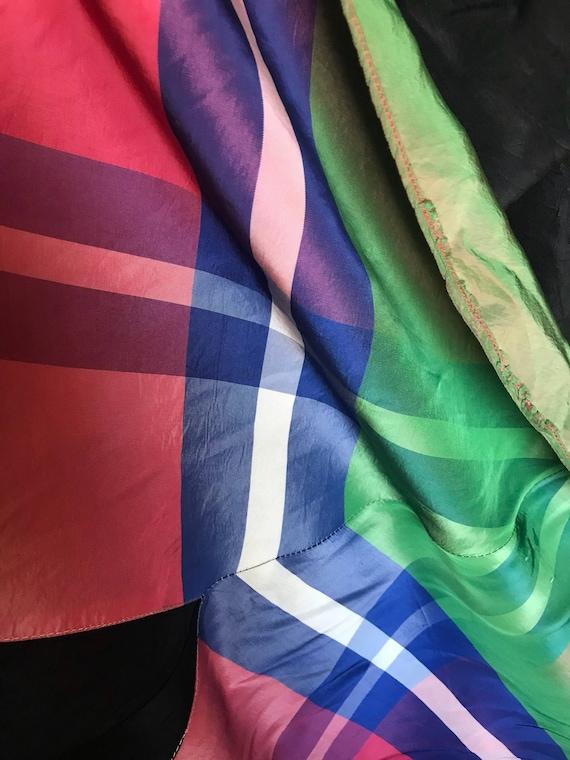 30's Vintage Rayon Silk Plaid Gown Dress - image 8