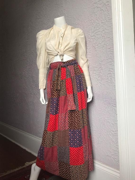 Handmade Velvet Maxi Skirt Patchwork Hippie Boho Multi Color Block ALine 70s