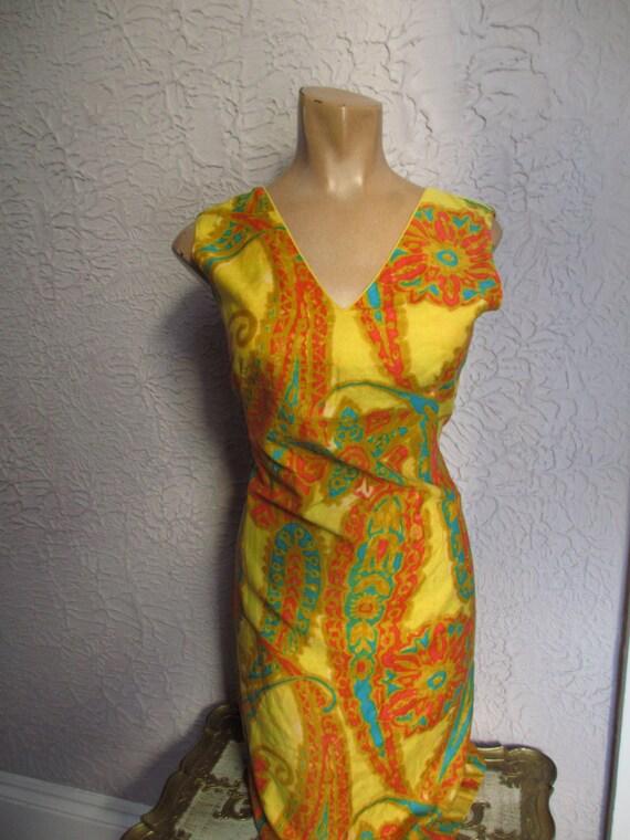 60's Shaheen Paisley Print Mod Hippie Cotton Shif… - image 5