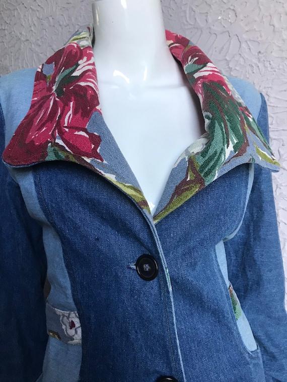 70s Vintage Patchwork Denim Blazer Jacket Mod Hip… - image 7