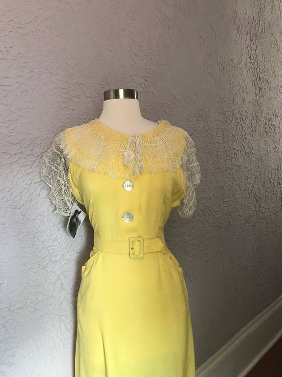 40's Vintage Yellow Rayon Dress handmade lace medi