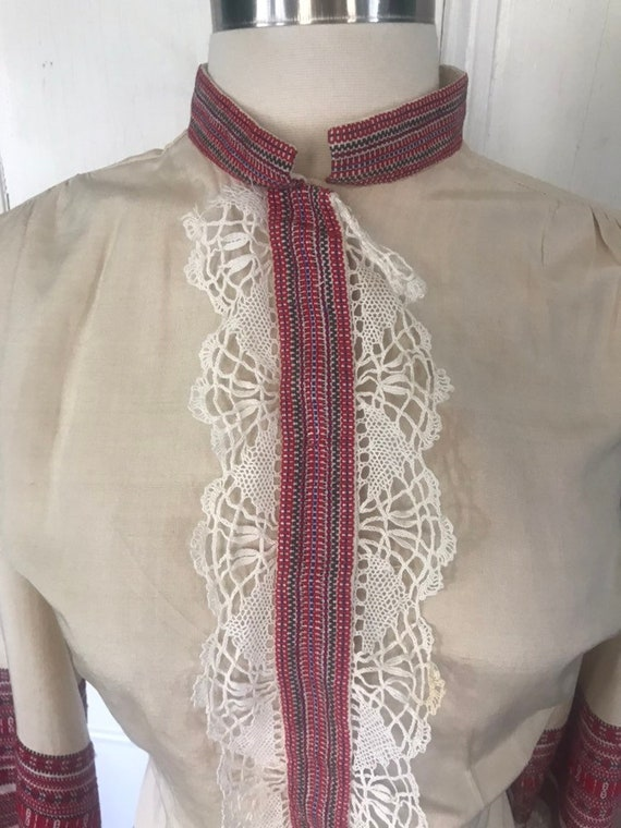 Vintage 30's/40's Hand Made Lace Silk Peasant  Bl… - image 4