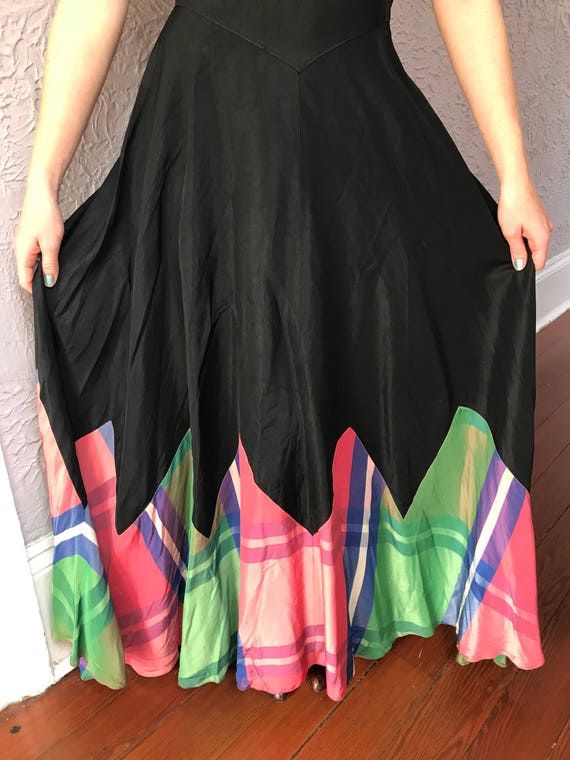 30's Vintage Rayon Silk Plaid Gown Dress - image 5