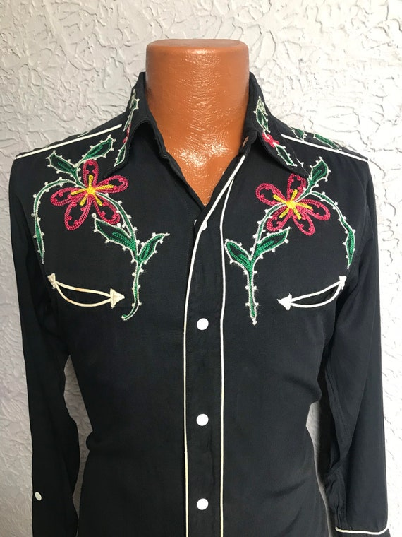 1950's Vintage Men's Rayon Embroidered Western Sh… - image 2
