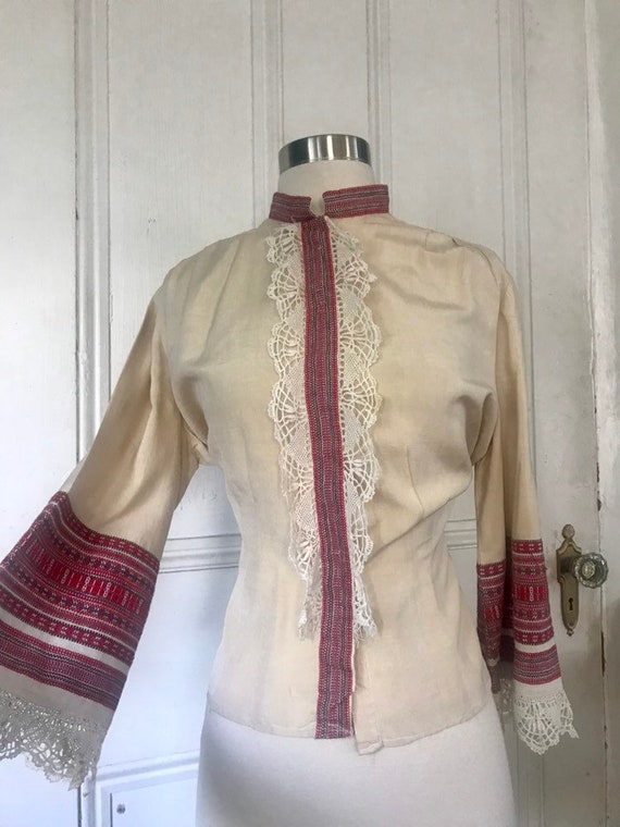 Vintage 30's/40's Hand Made Lace Silk Peasant  Bl… - image 1