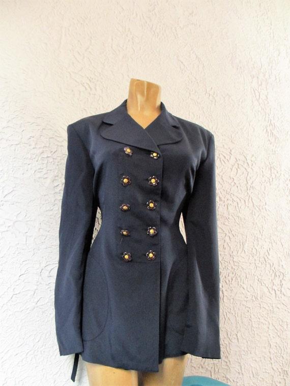 90's Vintage Gemma Kahng Navy Silk Blazer Jacket f