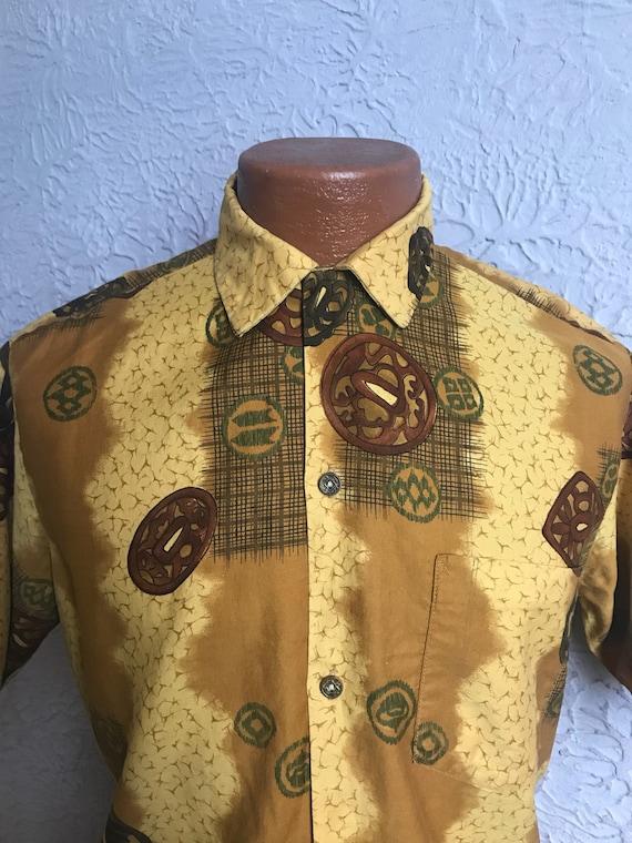 50's Vintage Tiki Print Hawaiian Shirt medium/larg