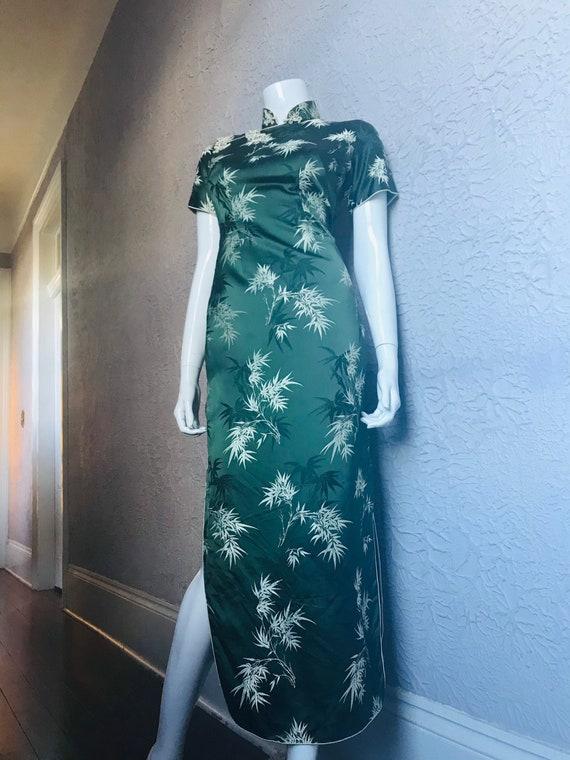Vintage Green Silk Satin Brocade Chinese Cheongsam