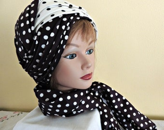 Vintage Turban Style Hat and Scarf / 60s Polka Dot Hat / Polka Dot Hat and Sash / Convertible Hat Scarf / Pleated Satin Turban / Toque Hat