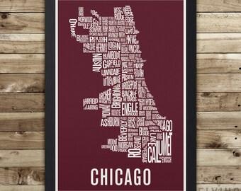 Carte de CHICAGO quartier imprimée, art mural chicago, chicago carte de typographie, cadeau de chicago