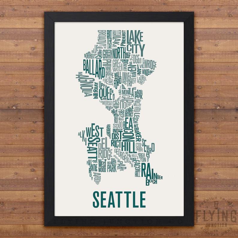 SEATTLE Neighborhood Typography City Map Print image 0