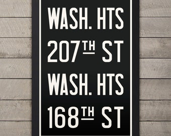 MANHATTAN (WASHINGTON HEIGHTS) New York City Subway Sign. Bus Scroll. 12 x 18 Rollsign Print