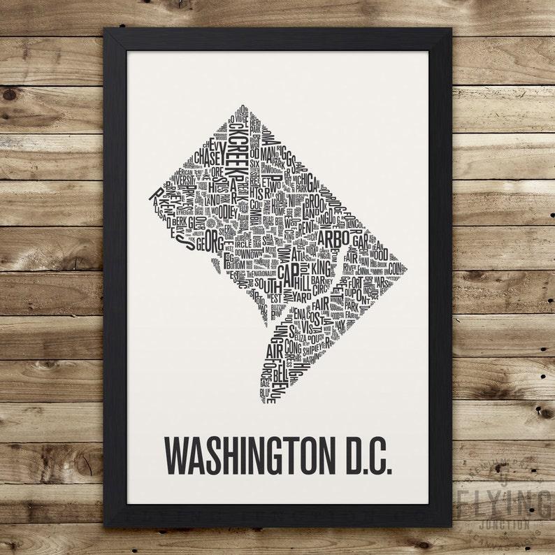 WASHINGTON DC Neighborhood Typography City Map Print image 0