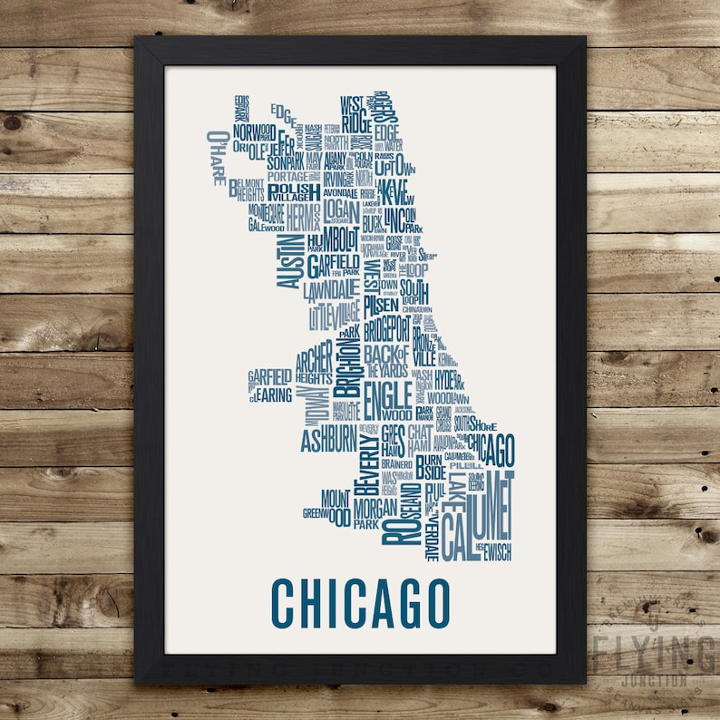 CHICAGO Neighborhood Typography City Map Print image 0