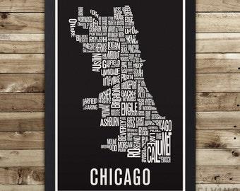 Impression carte ville de typographie pour le quartier CHICAGO