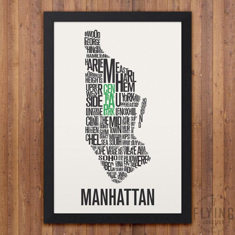 Map Of New York New York Neighborhoods.Manhattan New York Neighborhood Typography City Map Print