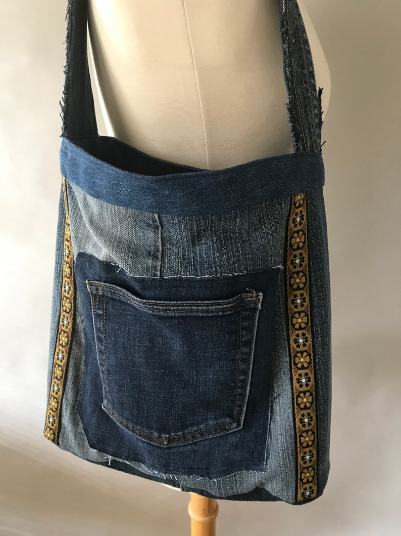 made from recycled men/'s jeans one of a kind Boho Shoulder Bag