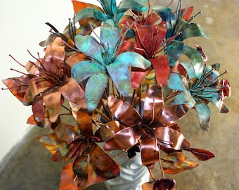 Forever Flower Copper Lily Sculpture