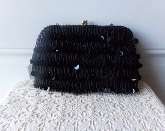 Vintage Beaded Purse - Clutch, Hand-Beaded, Hong Kong, 50 to 75 Years Old, Vintage Glamour, New Years Eve, Collectible, Gift Idea: VP-110