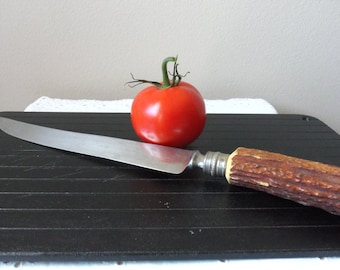 Knife-Horn Handle, Vintage Crown Crest, Made in Sheffield, England, Vintage Holiday, Stainless Steel Blade, Quality Cutlrey, Collectible
