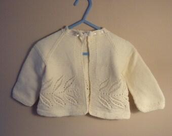 Vintage Baby Sweater - Handmade, Raglan Sleeve, Collectible, Gift Idea, Doll Collector, Leaf Pattern, Framed Art, Nursery Display:   CB-103