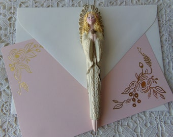 Angel Pen - Avon Collectible, 1996 Vintage, Easter Gift, Display, Desk or Office Accessory, Gift Idea, Letter Writing:  Coll-112