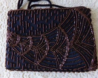 Vintage Beaded Bag - Chocolate Brown, 25 to 50 Years Old, Collectible, Evening Bag, Mother of the Bride, Mother of the Groom, Gift:  VP-109
