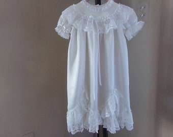 Antique Christening Gown - Matching Bonnet, 6-9 months, Made in USA, 50 to 75 Years Old, Collectible, Baby Girl, Gift Idea:   CB-105