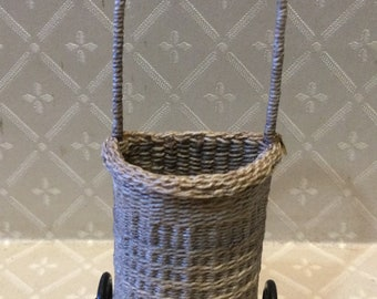 Dollhouse Miniature 1:12th scale shopping trolley with rolled border