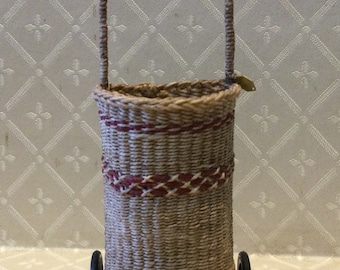 Dollhouse Miniature 1:12th scale Shopping Trolley with red trim