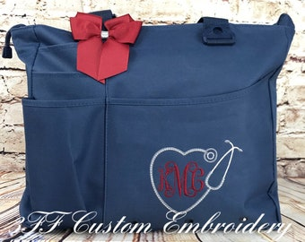 Personalized or Monogrammed NURSE/Doctor Heart Stethoscope Super Tote