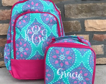 LIMITED QUANTITY Henslee Backpack and Lunchbox with FREE Monogramming, Back to School, Girls Backpack and Lunchbox Set