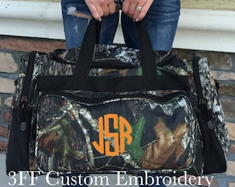 Personalized  Embroidered Mossy Oak or Realtree Camo Duffel/Camping/Hunting/Fishing-Travel Bag-Great Gift For Him