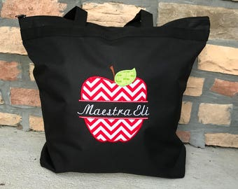 Personalized  Apple Teacher Tote