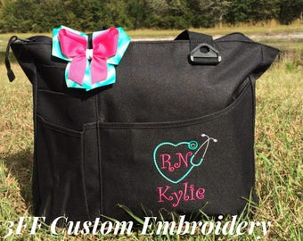 Personalized or Monogrammed NURSE/Doctor Super Tote 26 BAG Colors to Choose from