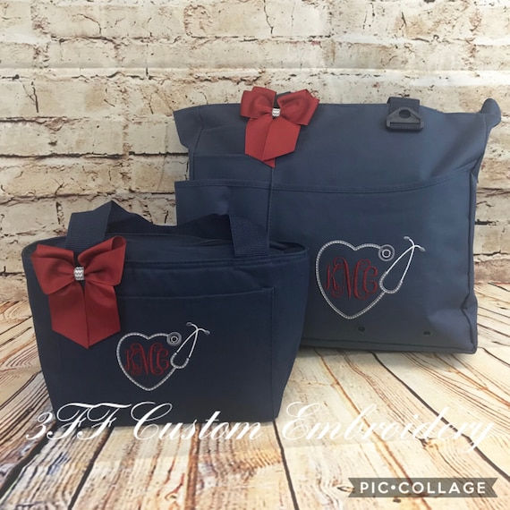 Personalized or Monogrammed NURSEDoctor Heart Stethoscope Super Tote